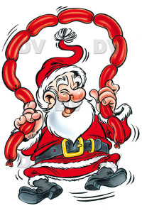 Cartoon of Santa Claus holding string of sausages